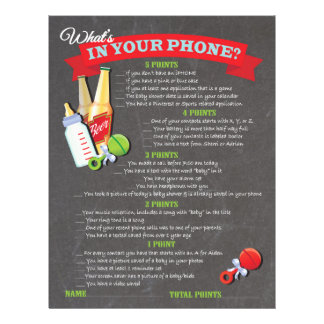 What's in your phone baby shower game flyer