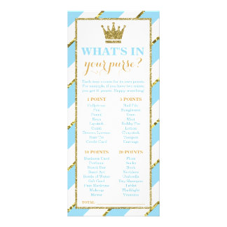 What's In Your Purse? Baby Shower Game, Prince Rack Card