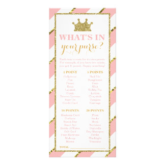 What's In Your Purse? Baby Shower Game, Princess Rack Card Design