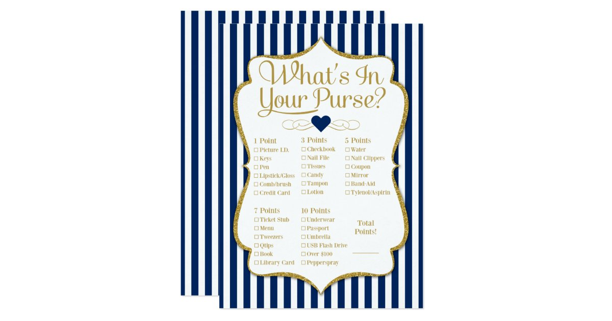 What S In Your Purse Game Navy Blue Gold Shower Card