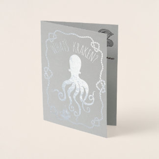 Whats Kraken Funny Nautical Pun | Missing You Foil Card