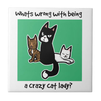 Whats wrong with being a crazy cat lady small square tile