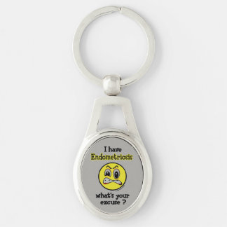 What's Your Excuse...Endometriosis Silver-Colored Oval Key Ring