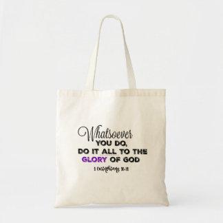 Whatsoever you do: Glory of God Verse Tote Bag