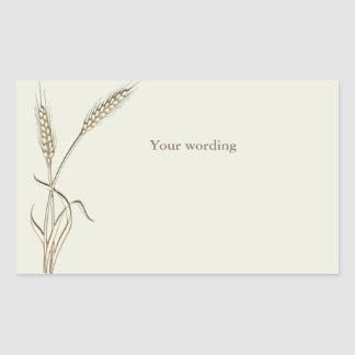 Wheat country wedding single grass rectangular sticker