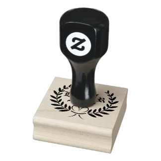 Wheat Ears Monogram Rubber Stamp