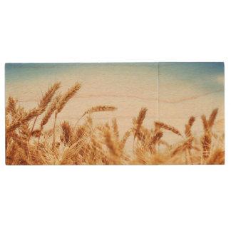 Wheat field against blue sky wood USB 2.0 flash drive