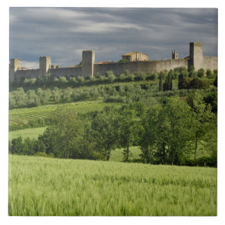 Wheat field and distant Monteriggioni, in the Large Square Tile