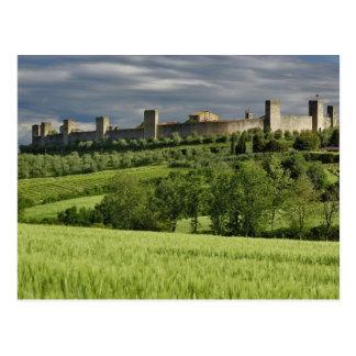 Wheat field and distant Monteriggioni, in the Postcard