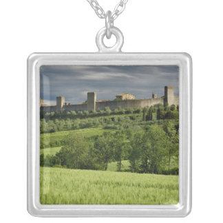 Wheat field and distant Monteriggioni, in the Square Pendant Necklace