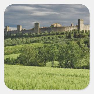 Wheat field and distant Monteriggioni, in the Square Sticker