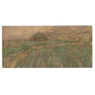Wheat Field in Rain by Vincent Van Gogh Wood USB 2.0 Flash Drive