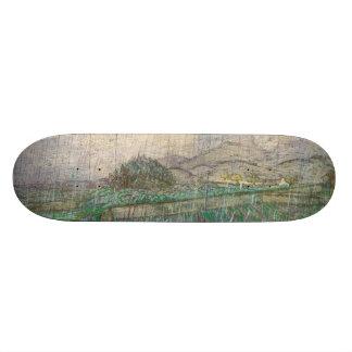 Wheat Field in Rain by Vincent Van Gogh Skateboard Decks