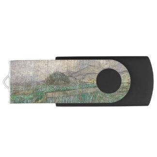 Wheat Field in Rain by Vincent Van Gogh Swivel USB 2.0 Flash Drive