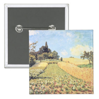 Wheat Field oil on canvas Pinback Button