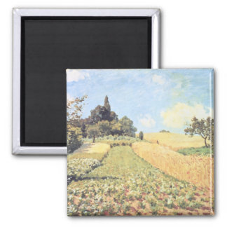 Wheat Field (oil on canvas) Square Magnet