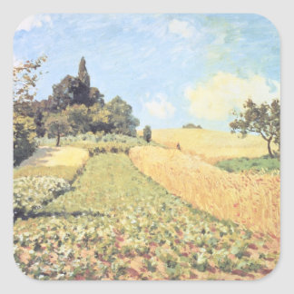 Wheat Field (oil on canvas) Square Stickers