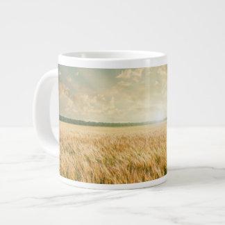 Wheat field on sunset jumbo mug