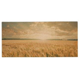 Wheat field on sunset wood USB 2.0 flash drive