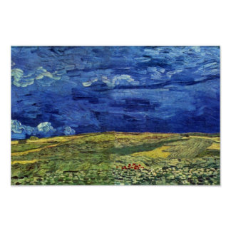 Wheat Field Under Clouded Sky By Vincent Van Gogh Print