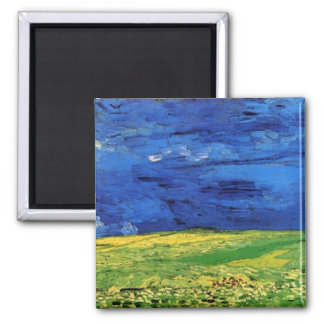 Wheat Field Under Clouded Sky by Vincent van Gogh Square Magnet