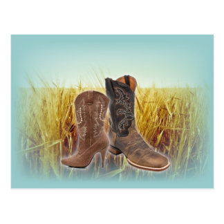 Wheat Field western country cowboy boots Postcard