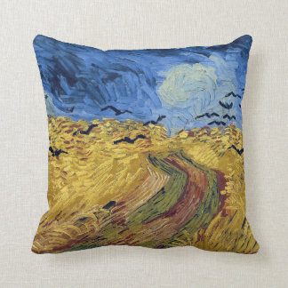 Wheat Field with Crows by Van Gogh Throw Cushions