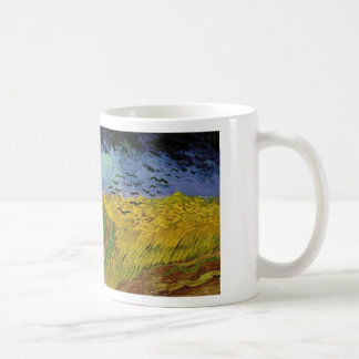 Wheat field with crows flying. mug