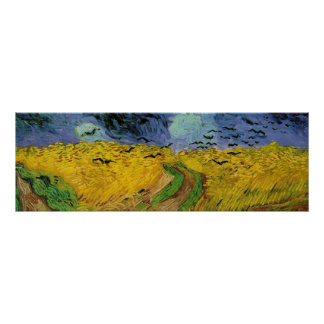 Wheat field with crows flying. posters