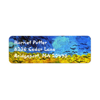 Wheat Field with Crows Van Gogh Fine Art Return Address Label