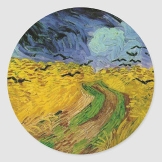 Wheat Field with Crows - Vincent Van Gogh Classic Round Sticker