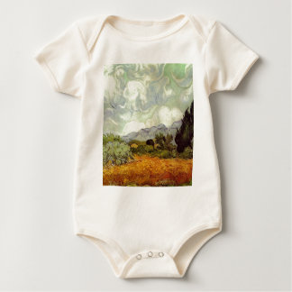 Wheat Field with Cypresses Baby Bodysuit