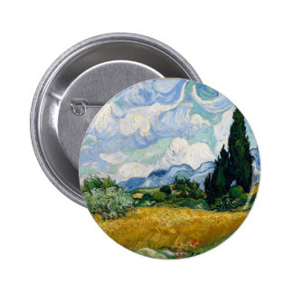 Wheat Field with Cypresses Button
