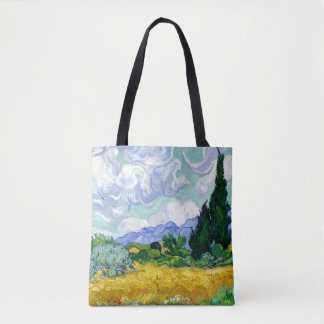 Wheat Field with Cypresses by Van Gogh Fine Art Tote Bag
