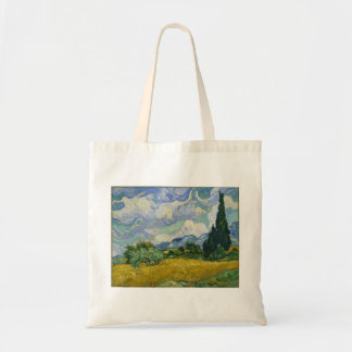 Wheat Field with Cypresses by Vincent van Gogh Canvas Bags
