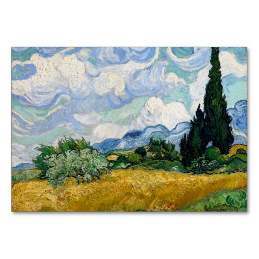 Wheat Field with Cypresses by Vincent Van Gogh Table Cards