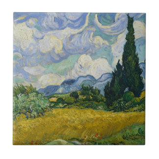 Wheat Field with Cypresses by Vincent van Gogh Tile