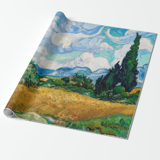 Wheat Field with Cypresses by Vincent van Gogh Wrapping Paper