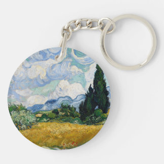 Wheat Field with Cypresses Double-Sided Round Acrylic Key Ring
