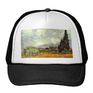 Wheat Field with Cypresses Mesh Hat