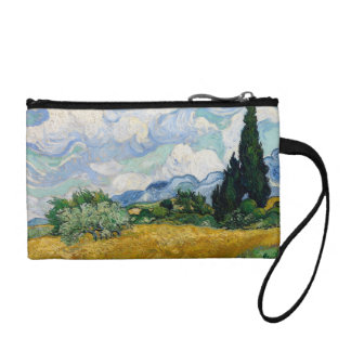 Wheat Field with Cypresses Key Coin Clutch