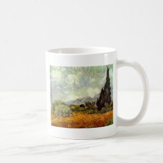 Wheat Field with Cypresses Mugs