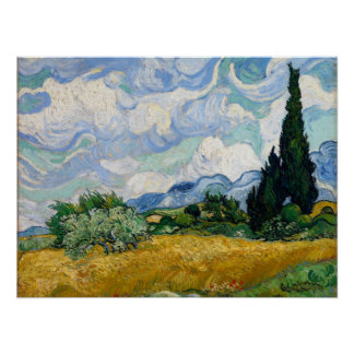 Wheat Field with Cypresses Poster