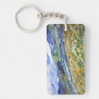 Wheat Field with Mountains in the Background Double-Sided Rectangular Acrylic Key Ring