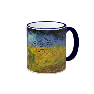 Wheat Fields with Crows by Van Gogh Ringer Mug