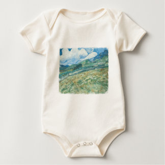 Wheat fields with Mountain in the Background Baby Bodysuit