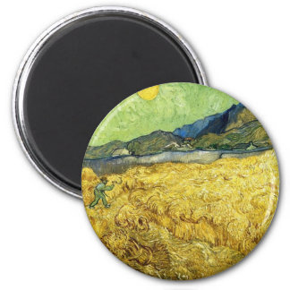Wheat Fields with Reaper at Sunrise - Van Gogh 6 Cm Round Magnet