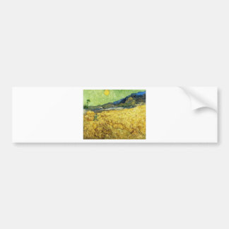 Wheat Fields with Reaper at Sunrise - Van Gogh Bumper Sticker