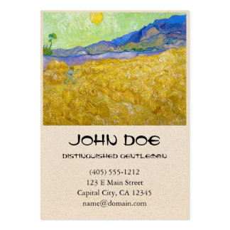 Wheat Fields with Reaper at Sunrise Van Gogh Business Card Template