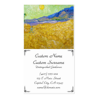 Wheat Fields with Reaper at Sunrise Van Gogh Business Card